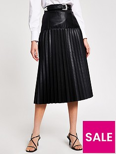river-island-river-island-pu-western-pleated-midi-skirt-black