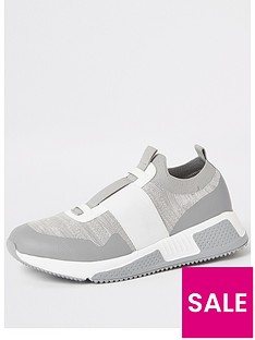 river-island-knit-contrast-strap-trainer-grey