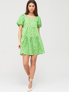 river-island-river-island-puff-sleeve-printed-mini-smock-dress-green