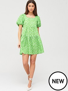 river-island-river-island-puff-sleeve-printed-mini-smock-dress-green
