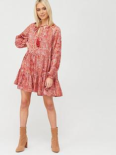 river-island-printed-tie-neck-smock-dress-red