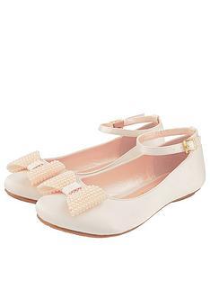 monsoon-girls-pearl-bow-satin-ballerina-shoe-champagne