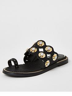 river-island-scallop-detail-toe-loop-sandal-black