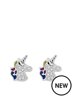 the-love-silver-collection-rhodium-plated-sterling-silver-cubic-zirconia-and-enamel-unicorn-earrings