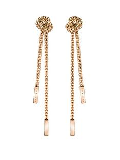 boss-boss-rosette-gold-plated-stainless-steel-mesh-long-knot-earrings