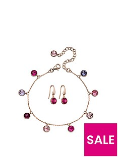 the-love-silver-collection-rose-gold-plated-silver-pink-swarovski-charm-bracelet-and-earring-set