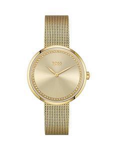 boss-boss-praise-gold-stainless-steel-mesh-strap-gold-colour-crystal-dial-bracelet-watch