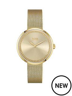 boss-boss-praise-gold-stainless-steel-mesh-strap-gold-colour-crystal-dial-bracelet-watch