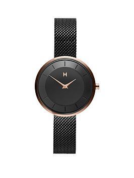 mvmt-mod-black-and-gold-detail-28mm-dial-black-stainless-steel-mesh-strap-ladies-watch-black