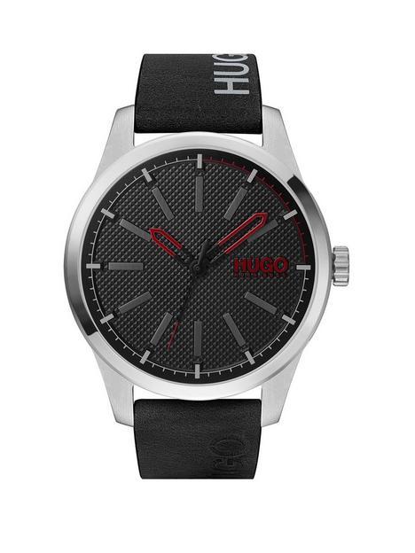 hugo-invent-black-leather-strap-black-dial-mensnbspwatch