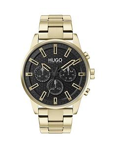 hugo-seek-gold-bracelet-black-dial-mens-watch