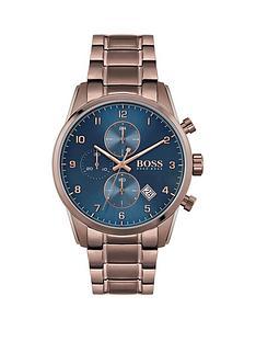 boss-boss-skymaster-sports-lux-coffee-stainless-steel-blue-dial-bracelet-watch