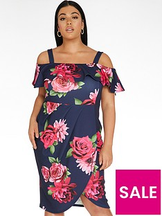 quiz-curve-floral-bardot-wrap-dress-navypink