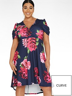 quiz-curve-floral-puff-sleeve-dip-hem-dress-navypinknbsp