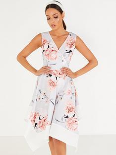 quiz-floral-wrap-cont-hanky-hem-dress-grey