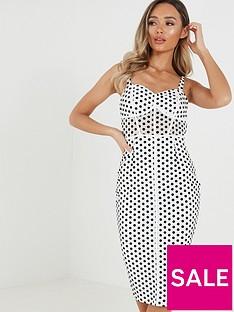 quiz-polka-dot-corset-detail-strappy-midi-dress-blackwhite