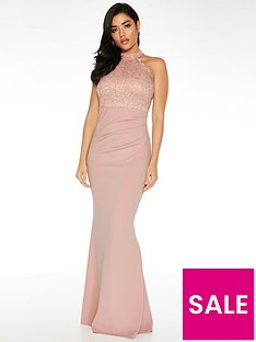 quiz-quiz-scuba-high-neck-lace-insert-maxi-dress-blush
