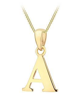 love-gold-9ct-gold-plain-initial-pendant-pendant-necklace