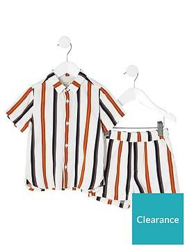 river-island-mini-boys-stripe-shirt-and-short-co-ord-ecru