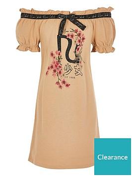 river-island-girls-bardot-t-shirt-dress-tan