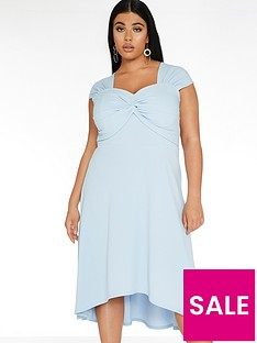 quiz-curve-knot-front-dip-hem-dress-pale-blue