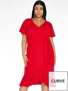 quiz-curve-frill-wrap-midi-dress-rednbsp