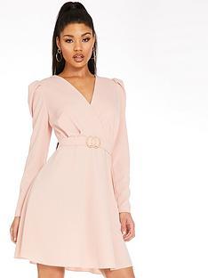 quiz-quiz-crop-puff-sleeve-buckle-skater-dress-pink