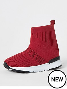 river-island-mini-mini-boys-knitted-hi--tip-trainers-red