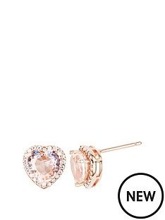 the-love-silver-collection-rose-gold-plated-sterling-silver-cubic-zirconia-heart-morganite-colour-glass-stud-earrings
