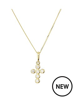 love-gold-9ct-yellow-gold-cubic-zirconia-bubble-cross-pendant-on-18-inch-curb-chain
