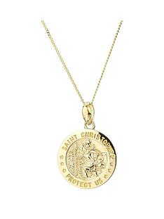 love-gold-9ct-yellow-gold-st-christopher-14mm-disc-pendant-on-18-inch-curb-chain