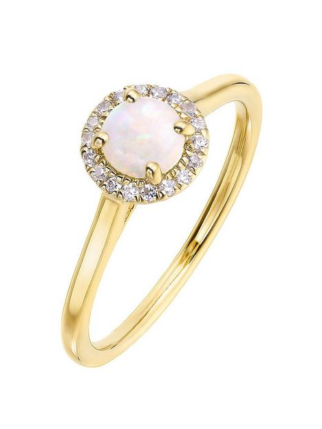 love-gem-9ct-yellow-gold-5mm-round-cabochon-opal-and-008ct-diamond-birthstone-halo-ring