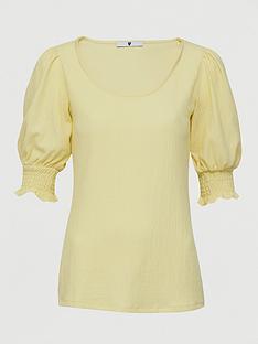 v-by-very-scoop-neck-puff-sleeve-top-lemon