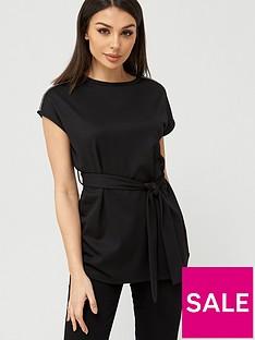 v-by-very-diamante-trim-tie-waist-tunic-black