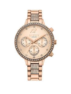 lipsy-lipsy-rose-gold-bracelet-with-rose-gold-sunray-dial-and-clear-crystal-set-bezel-hour-markers-sub-eyes-and-centre-bracelet-link