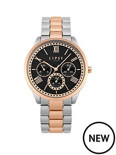 lipsy-lipsy-two-tone-silverrose-gold-centre-bracelet-with-black-satin-fan-texture-dial-and-none