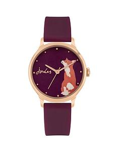 joules-ladies-watch-with-mulberry-silicone-strap-and-mulberry-with-fox-gloss-print-dial