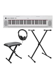 yamaha-yamaha-piaggero-np12-white-electronic-keyboard-with-stand-bench-headphones-and-online-lessons