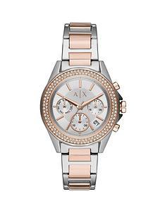 armani-exchange-lady-drexler-bi-colour-stainless-steel-silver-sunray-dial-bracelet-watch