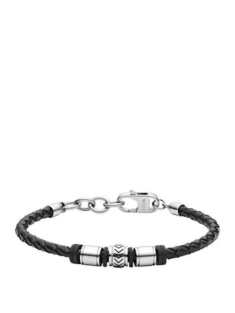 fossil-black-leather-and-stainless-steel-mens-bracelet