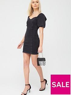 river-island-river-island-puff-sleeve-denim-mini-dress-black
