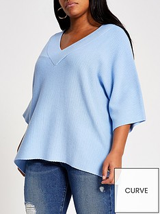 ri-plus-v-neck-knitted-top-blue