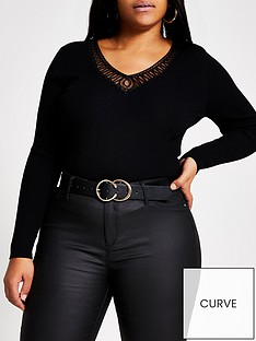 ri-plus-cornelli-v-neck-knitted-top-black