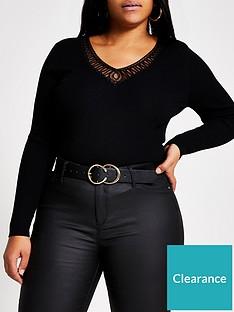 ri-plus-cornelli-v-neck-knitted-top-black