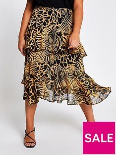 ri-plus-animal-print-chiffon-tiered-midi-skirt-brown