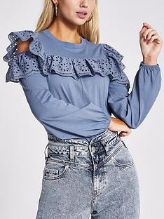 river-island-river-island-cold-shoulder-broderie-frill-top-blue