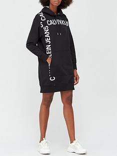 calvin-klein-jeans-grid-logo-hooded-dress-black