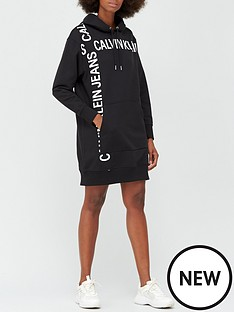 calvin-klein-jeans-grid-logo-hooded-dress-black