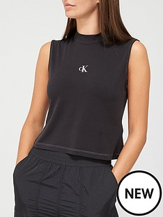 calvin-klein-jeans-sleeveless-mock-neck-cupro-tee-black