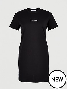 calvin-klein-jeans-plus-mesh-tape-t-shirt-dress-black